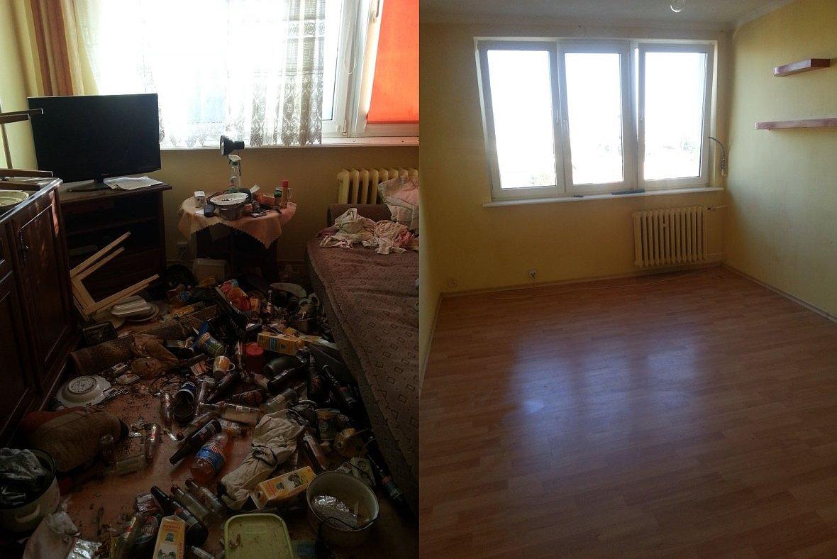 Zestawienie zdjęć pokoju przed i po sprzątaniu śmieci i odchodów z zaniedbanego mieszkania.