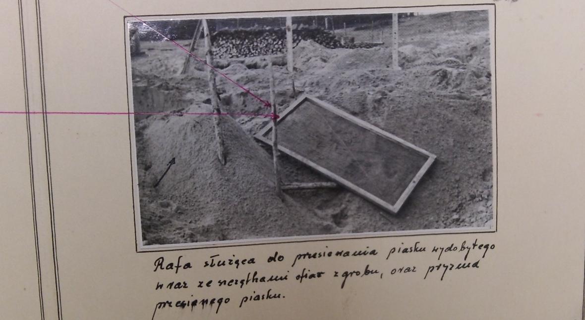 Bełżec 1958 r. Widok na część pola, na którym funkcjonował obóz zagłady. Na pierwszym planie groby rozkopane przez poszukiwaczy złota. Po lewej stronie państwowy skład drewna.