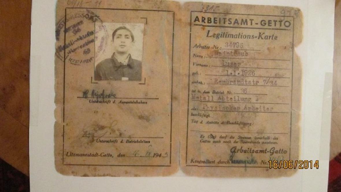 Legitymacja robotnika w Getto-LItzmannstadt, 1943 r.