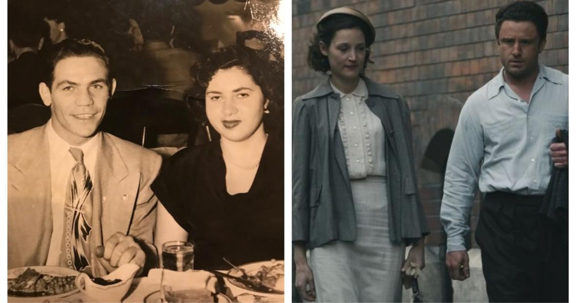 Po lewej prawdziwy Harry Haft na randce z narzeczoną, po prawej scena z filmu