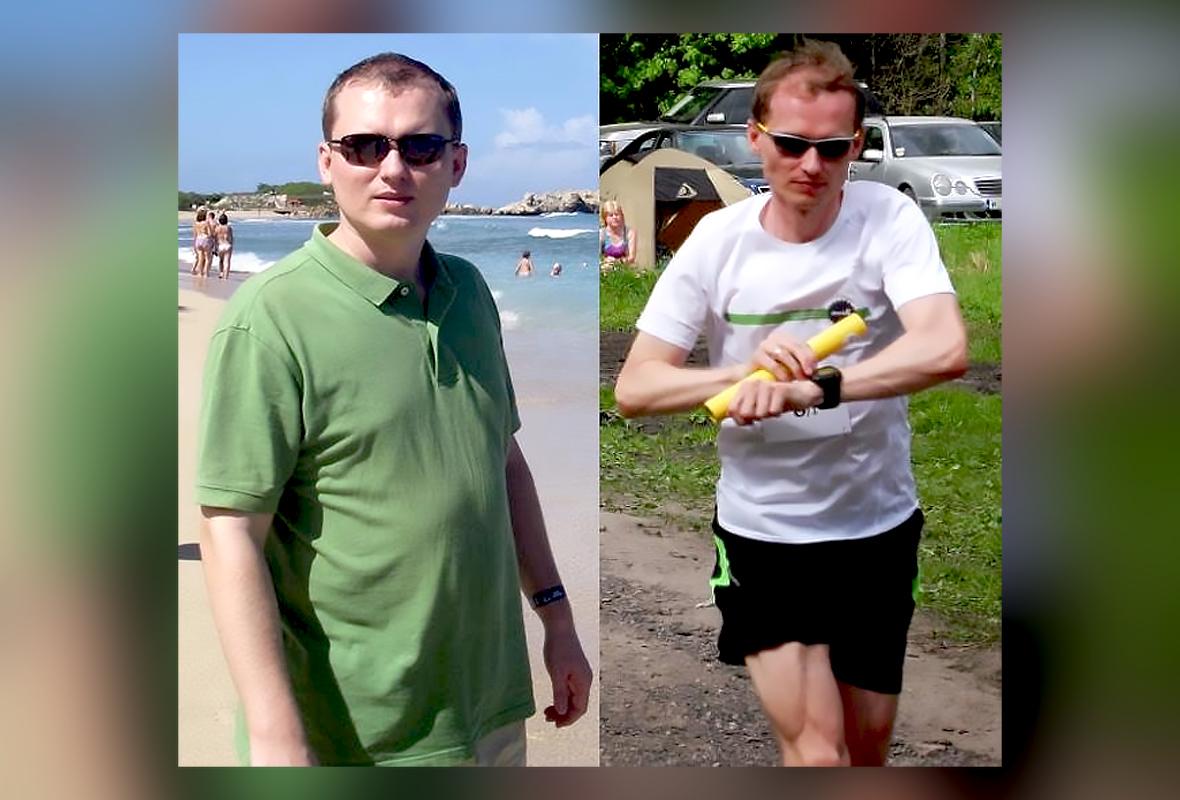 Stefan Batory przed i po. Po lewej 99 kg, po prawej 68 kg