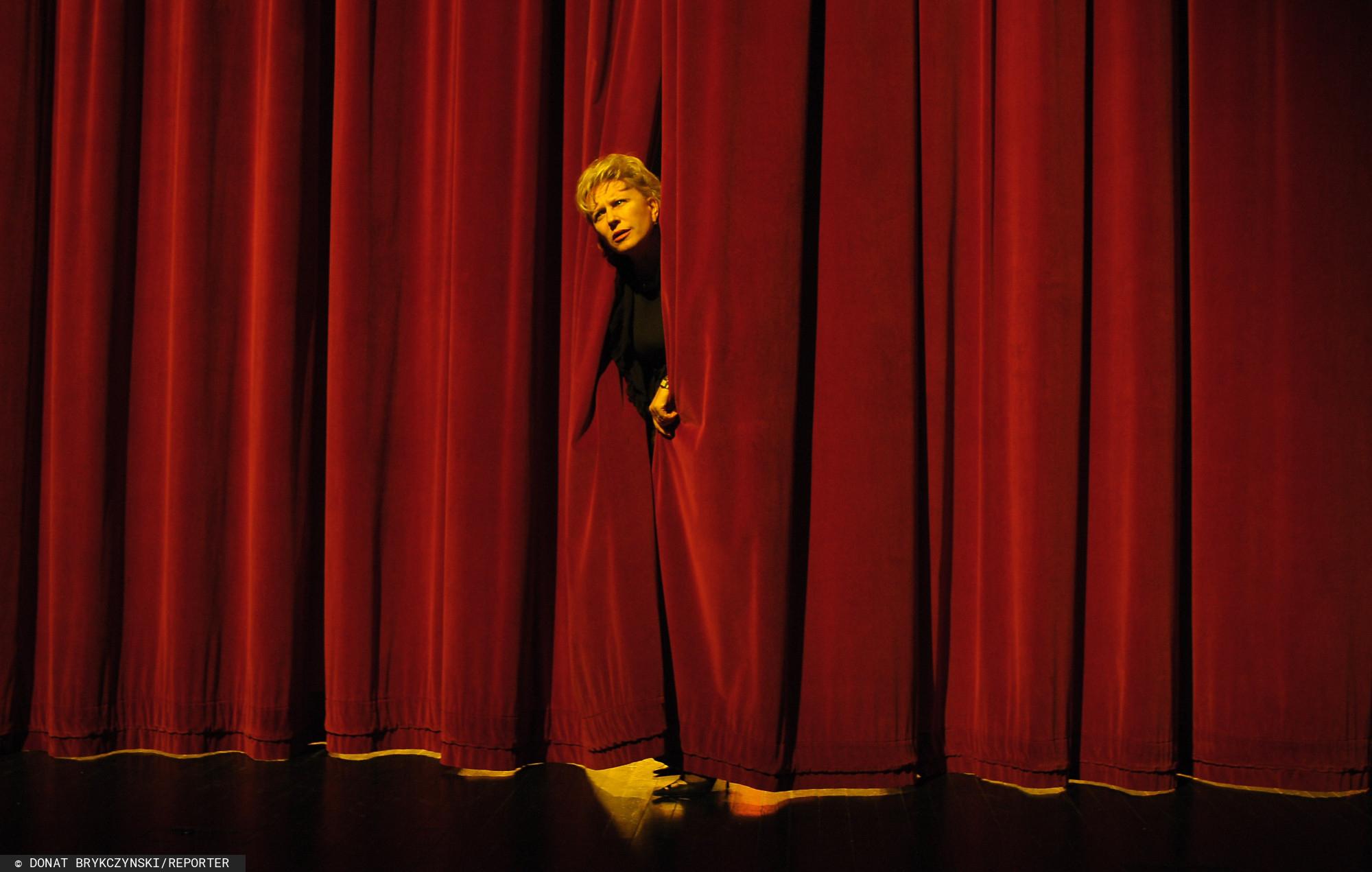 Krystyna Janda podczas próby do spektaklu BÓG w 2008 roku.