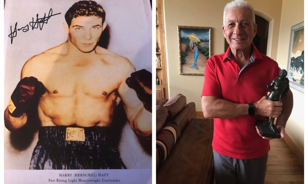 Harry Haft jako pretendent do tytułu mistrzowskiego w wadze ciężkiej - i jego syn ze statuetką - trofeum z powojennego turnieju w Monachium