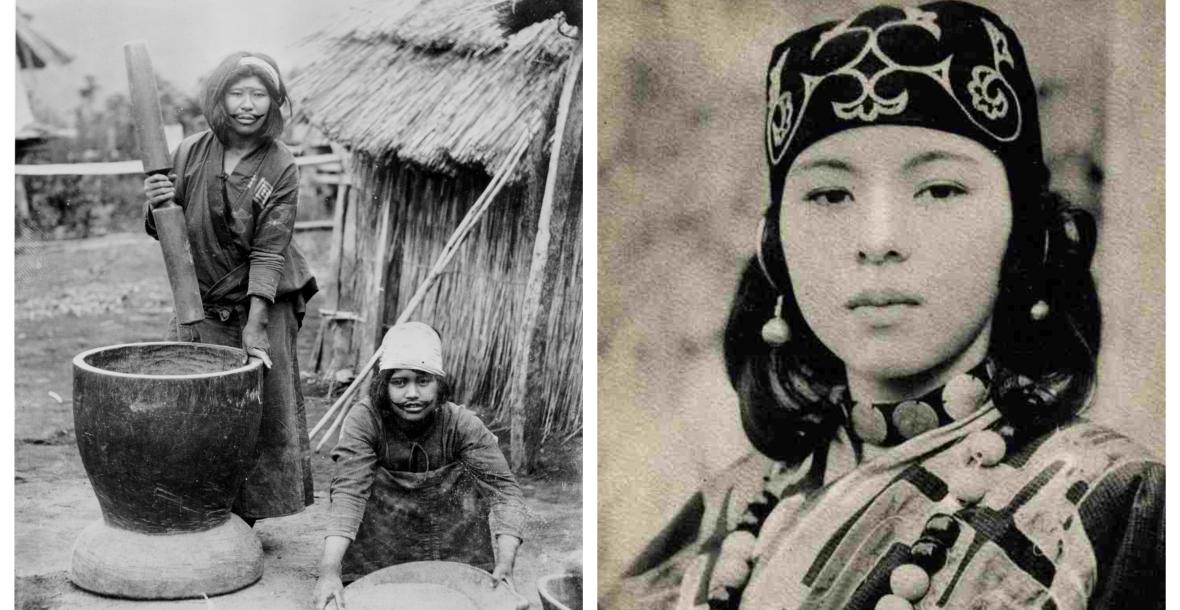 Kobiety z plemienia Ajnów. Na twarzach na fotografii po lewej widoczne charakterystyczne tatuaże wokół ust