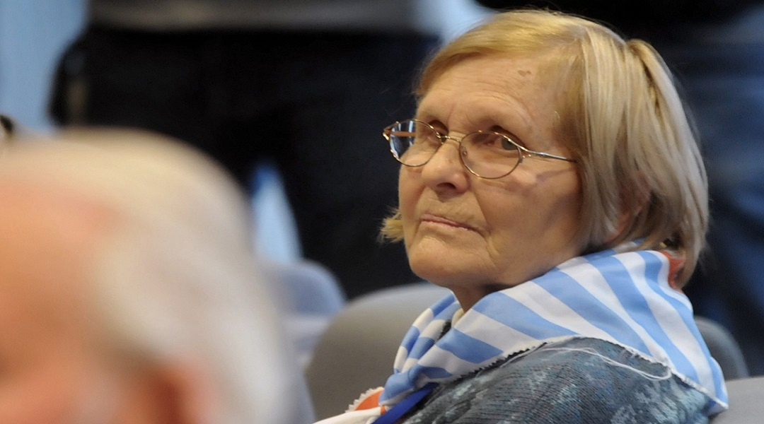 Oświęcim. Lidia Maksymowicz podczas uroczystości z okazji 70. rocznicy wyzwolenia byłego hitlerowskiego Obozu Koncentracyjnego Auschwitz - Birkenau.