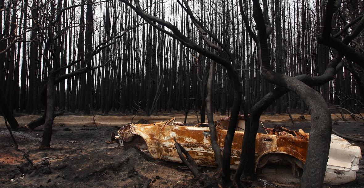 Zniszczony w pożarze buszu samochód na Wyspie Kangura u wybrzeży Australii. Zniszczenia na wyspie określono jako katastrofę ekologiczną