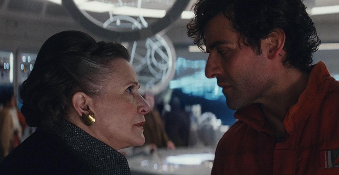 """Carrie Fisher i Oscar Isaac w epizodzie VIII - """"Gwiezdne wojny: Ostatni Jedi"""""""