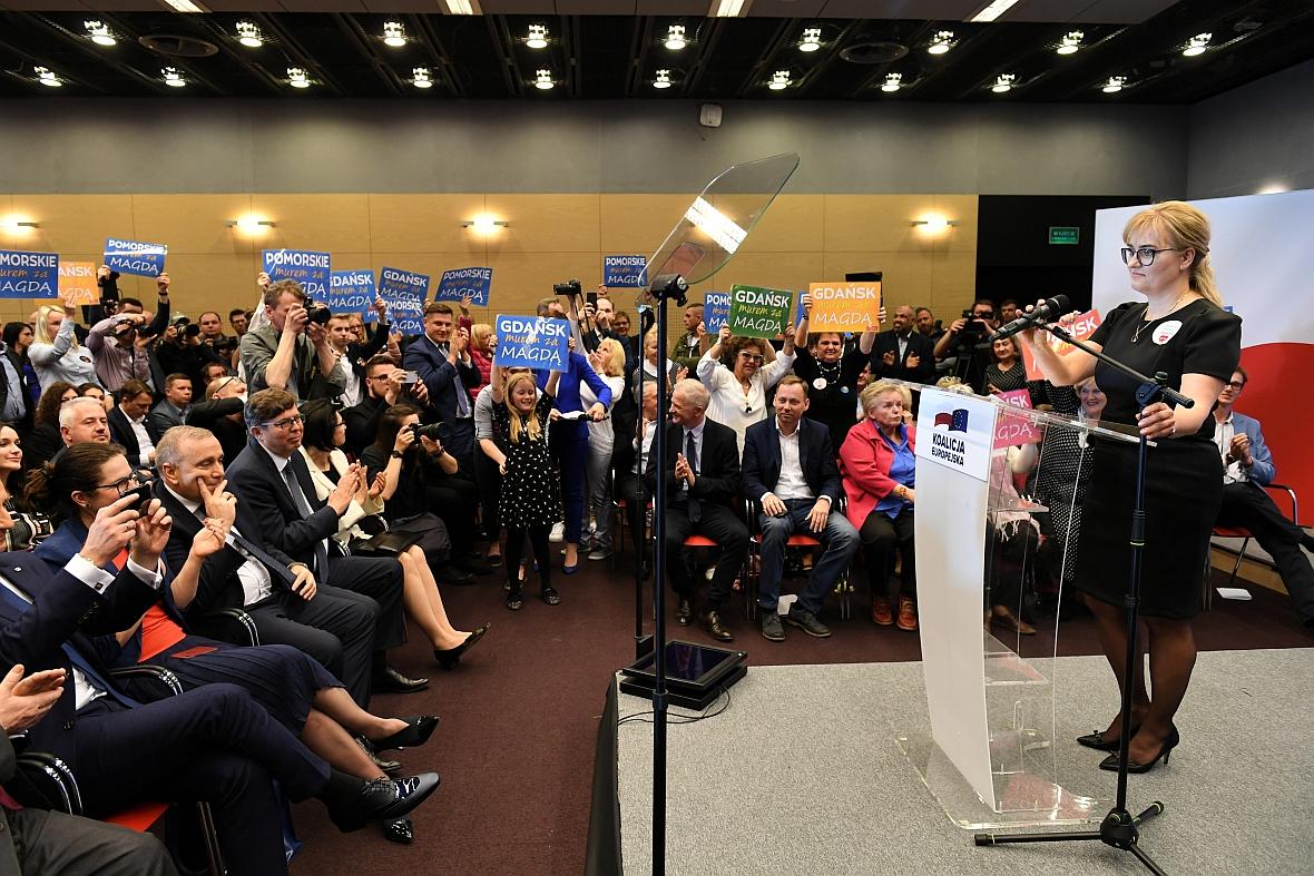 07.04.2019 r. Magdalena Adamowicz przemawia na konwencji PO jako kandydatka do Parlamentu Europejskiego