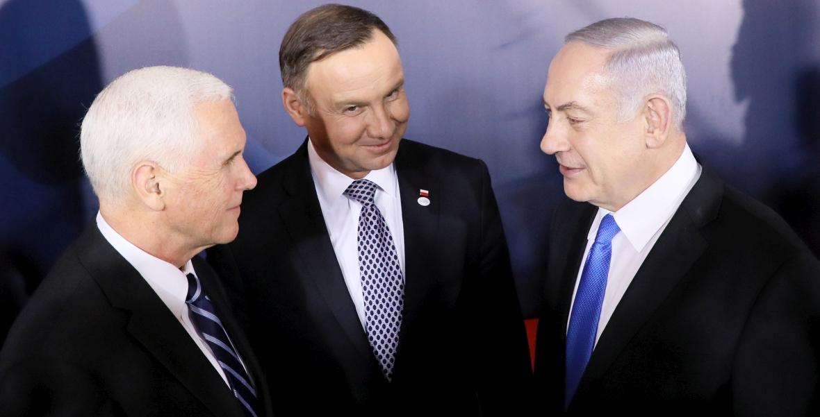 Wiceprezydent USA Mike Pence, prezydent RP Andrzej Duda i premier Izraela Benjamin Netanjahu na szczycie bliskowschodnim w Warszawie