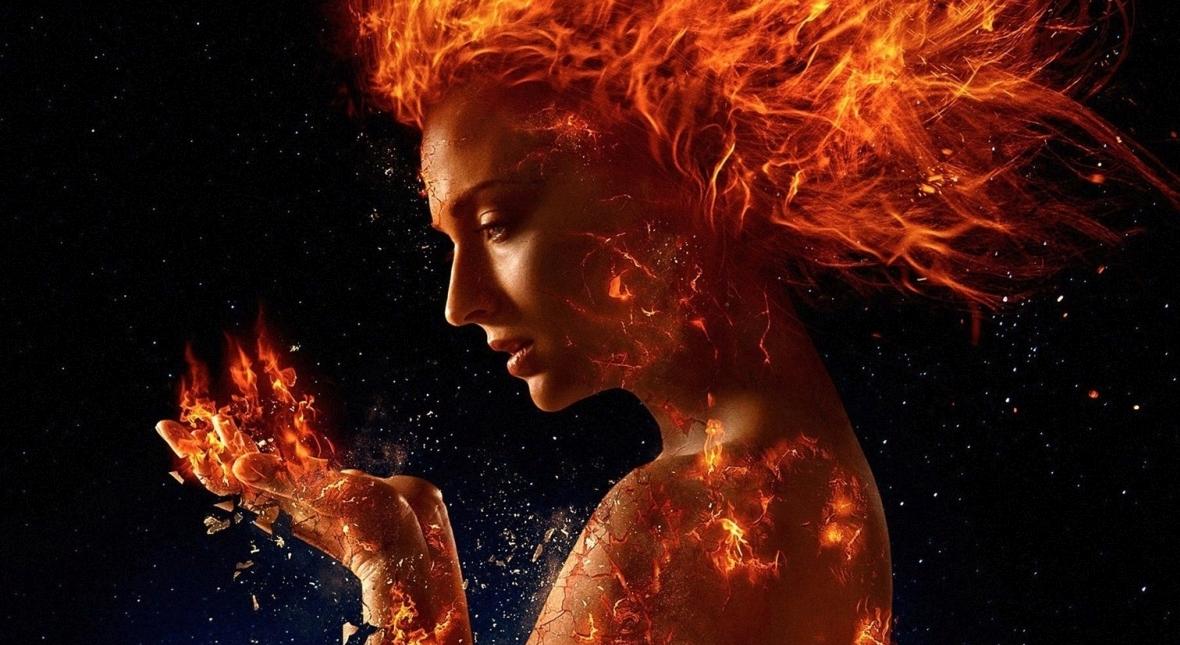 Sophie Turner jako dr Jean Grey/Phoenix, potężna mutantka, w filmie X-Men: The Dark Phoenix