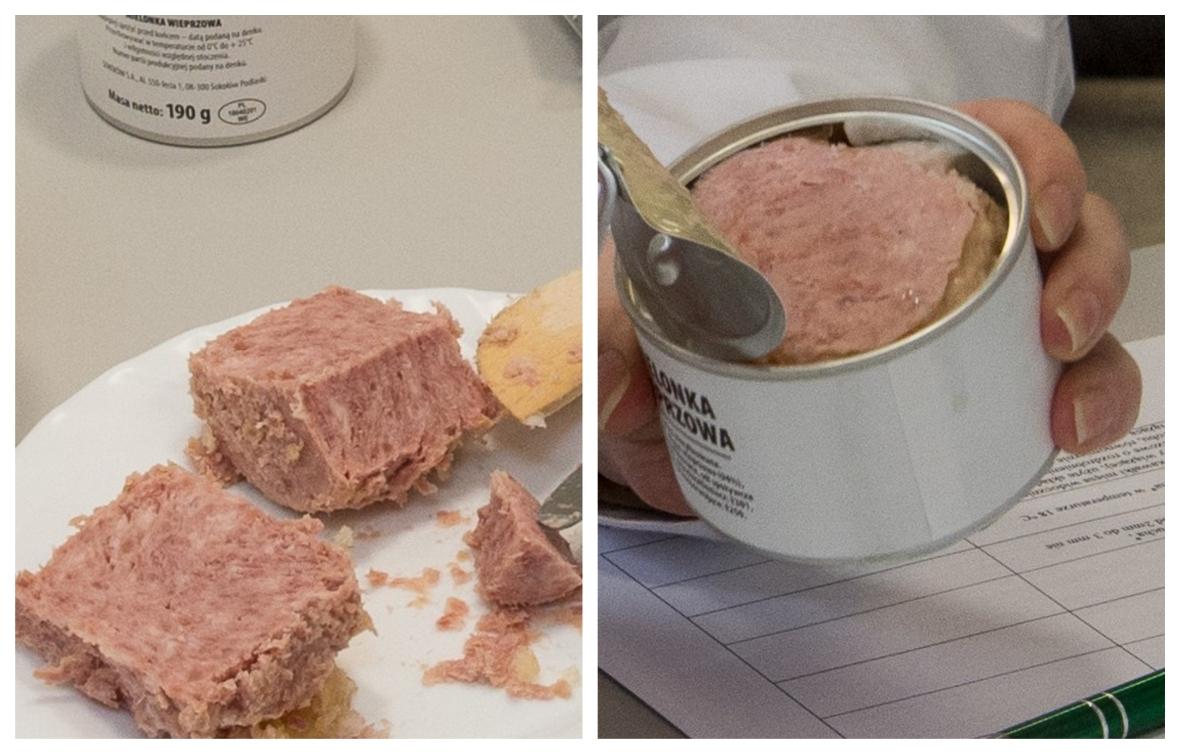Porcja konserwowego mięsa z wojskowej racji żywnościowej