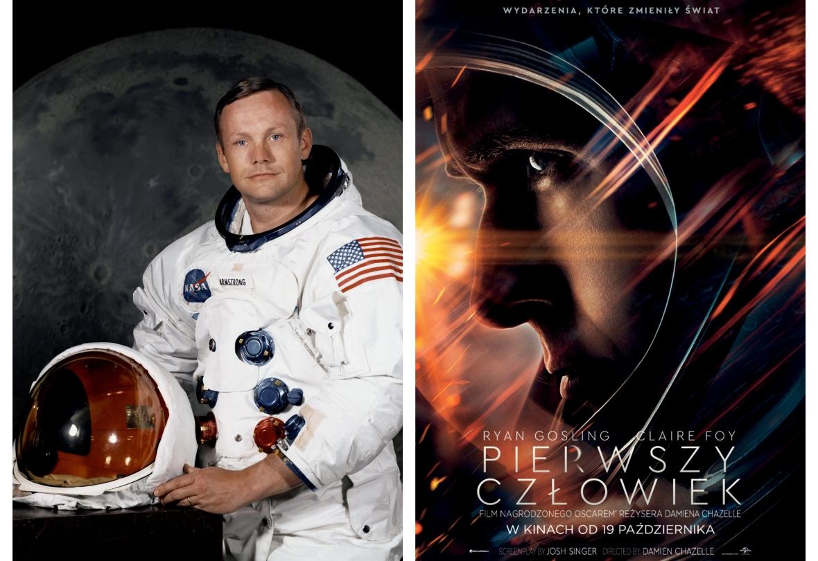 """Neil Armstrong i plakat z filmu """"Pierwszy Człowiek"""""""