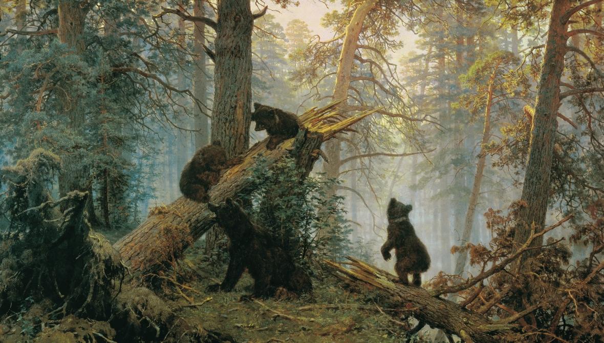 """""""Poranek w sosnowym lesie"""" - jeden z najsławniejszych obrazów Iwana Szyszkina. Warto zwrócić uwagę na tworzące """"dolne piętro"""" lasu pnie martwych drzew"""