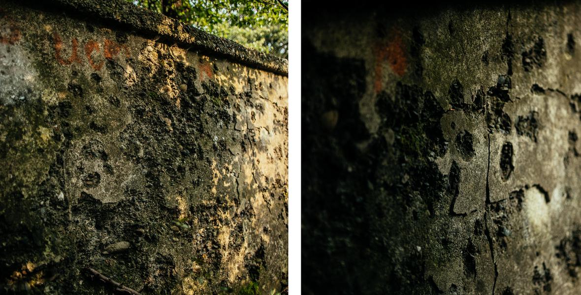 Ślady po kulach na murze dawnego cmentarza żydowskiego w Kołomyi.