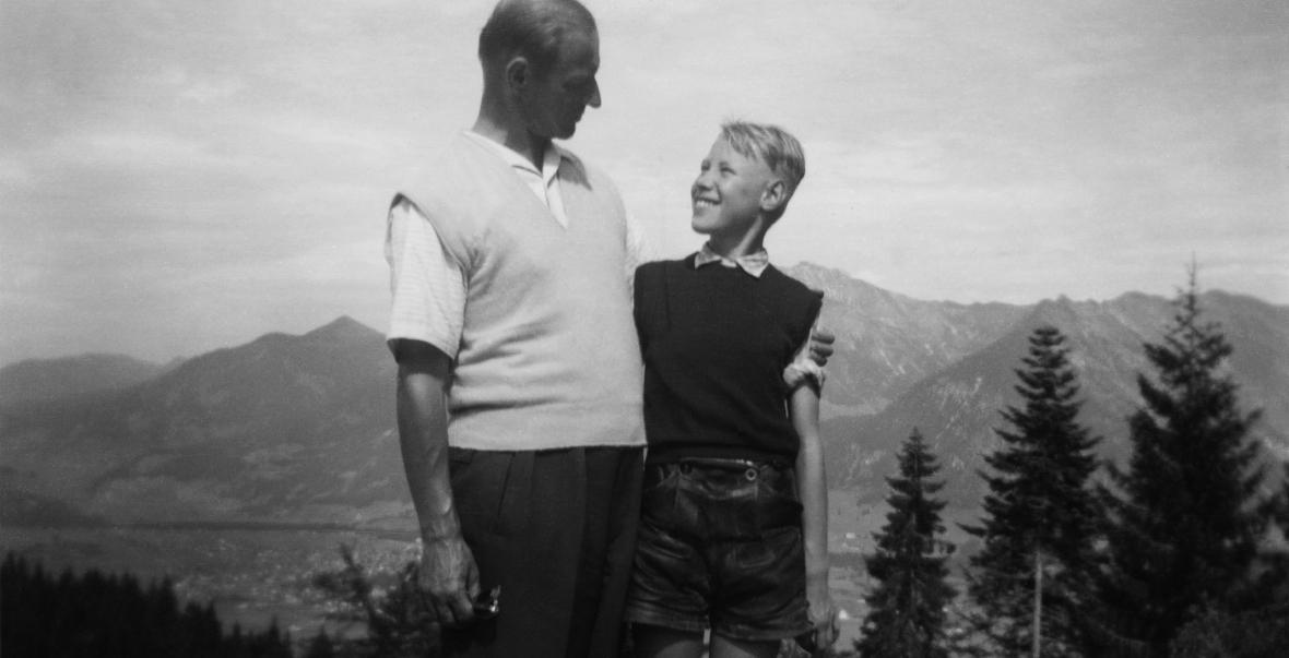 Jens-Jürgen Ventzki z ojcem Wernerem, wakacje w Oberstdorfie, lato 1956 r.
