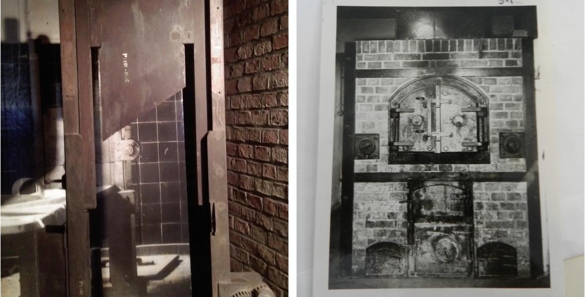 Po lewej gilotyna, na której ścinano ofiary dostarczane do Vossa. Obecnie w Muzeum Martyrologii Wielkopolan. Po prawej piec w Zakładzie Medycyny Sądowej w Poznaniu, w którym palono zwłoki Polaków i Żydów