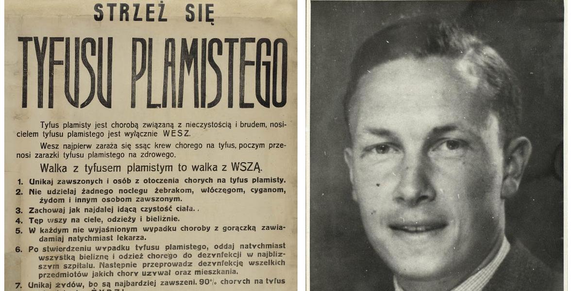 Starosta Claus Volkmann i plakat, który ostrzega przed roznoszącymi tyfus Żydami.