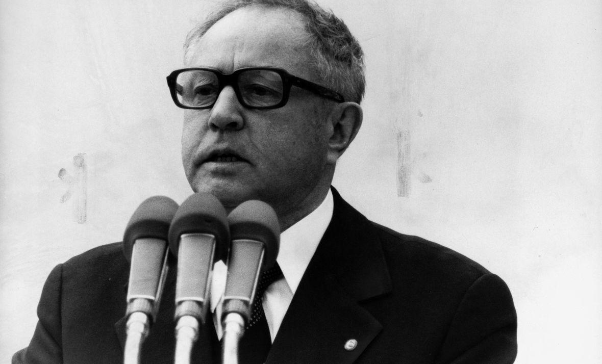 Erich Mielke podczas przemówienia, rok 1980
