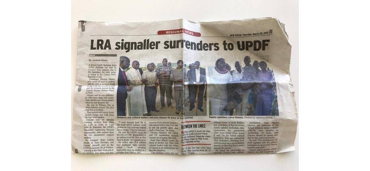 Ugandyjski dziennik New Vision informuje o powrotach byłych żołnierzy Kony'ego