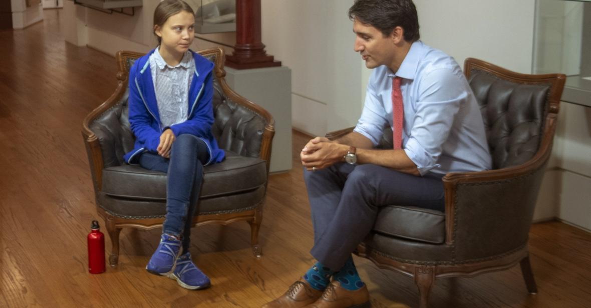 Aktywistka klimatyczna Greta Thunberg w rozmowie z Justinem Trudeau