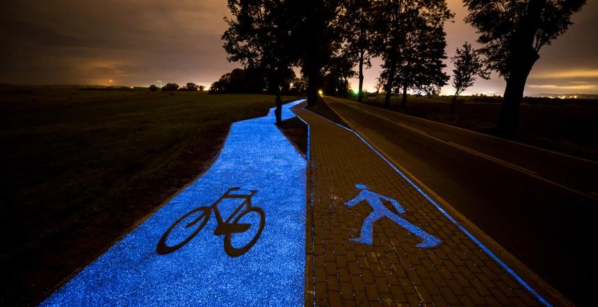 Lidzbark Warmiński: świecąca ścieżka rowerowa
